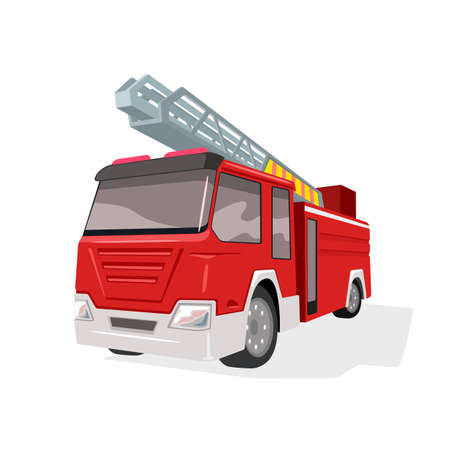 Rescue engine transportation, save lifes, firefighter van. Vector call for fire department, emergency services, modern vehicle design isolated on white background