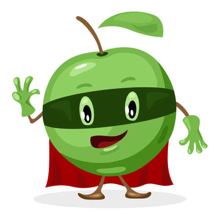 Green superhero fruit apple in costume, ripe delicious fruit. Vector character with eye, mouth, hands and legs wave hello, vegetarian food design isolated on white background