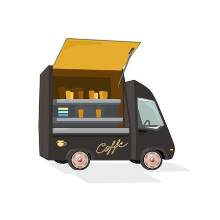 Street truck for sell aromatic coffee drink, trade from car, fast delivery service. Vector coffee shop with open facade, small business design isolated on white background