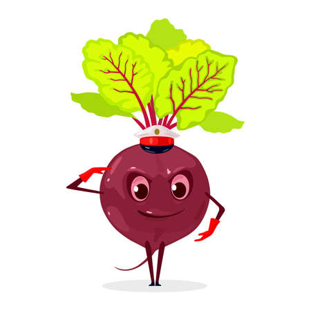 Vitaminized beet with greenery, veggie creature with legs, hands, eyes and mouth. Vector vegetarian food, diet and nutrition, cooking design isolated on white background  イラスト・ベクター素材