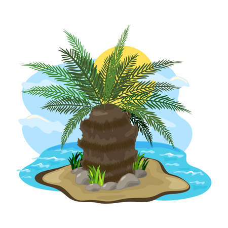 Big hairy palm tree on sand, green long leaves. Vector piece of land surrounded with ocean water, hot climate, desert island, travel design isolated on white background Illusztráció