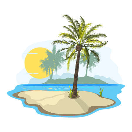 Dessert island, dreamy land, exotic paradise, oasis for body and soul. Vector blooming palm tree, burning sun, ocean, summer vacation design isolated on white background