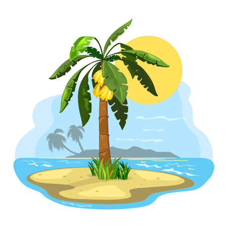Summer landscape, banana fruit raised on palm tree. Vector sand and shining sun over seascape, oasis, wild nature, dreamy island design isolated on white background Vettoriali