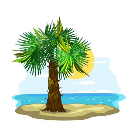 Green leaves and thick stem, azure coast, oasis. Vector sunny weather, sand and boundless ocean, summertime vacation, island landscape design isolated on white background  イラスト・ベクター素材