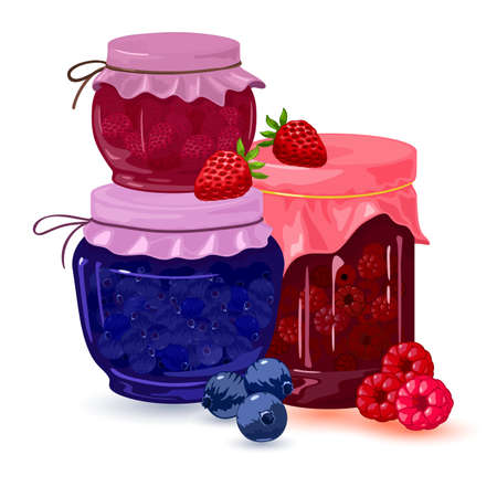 Collection of fresh homemade strawberry, blueberry and raspberry jelly canned in jars. Vector dietary food, curative and vitaminized tea, syrup idea isolated on white background