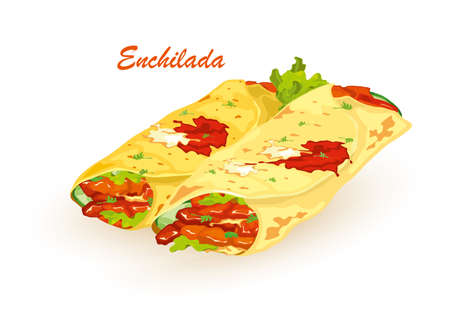 Cartoon of hot fresh pita bread with fresh farm vegetables lettuce, tomato and nutritious meat, spicy sauce. Vector fast food, lunch, snack. Idea of takeaway, unhealthy food isolated on white