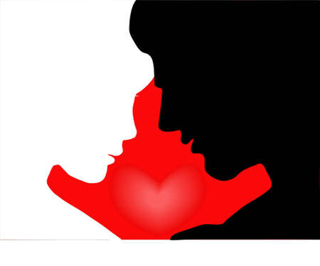 Illustration of lovers with a  heart on a red background.