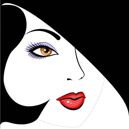 pinup: face beautiful woman  Illustration