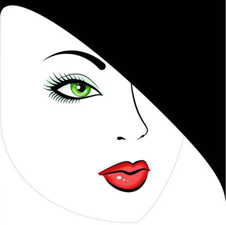 green-eyed beautiful girl.