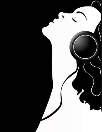Girl With Headphones. Vector