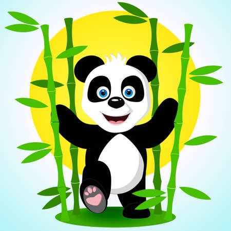A cute happy panda bear smiles broadly striding among the bamboo branches against the background of the yellow sun and the blue sky. Vector illustration.