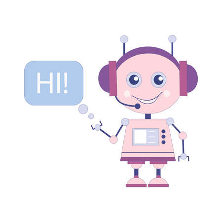 Cute smiling robot with chat bubble, virtual online help customer support Vectores