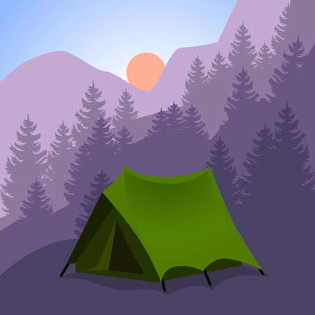 Camping cartoon, tourist tent in mountains. Background for travel trekking hiking, sports, nature, outdoor recreation vector tent illustration.
