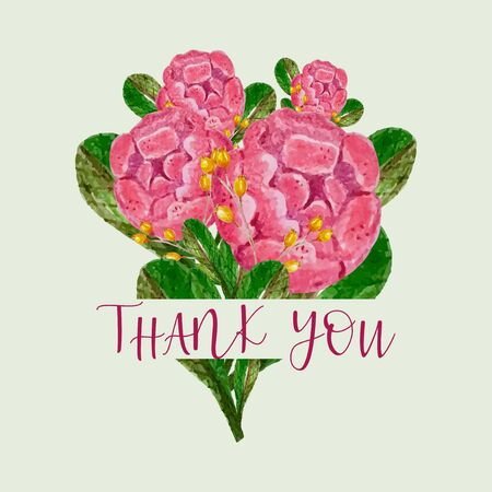 thank you rose bouquet card,invitation,poster,greeting,hand drawing watercolor card Illustration