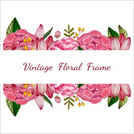 Watercolor vintage floral frame,botanical invitation card,pink flower greeting postcard,wedding