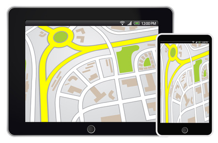 gps device: Tablet and smartphone mobile with GPS navigation on map Illustration