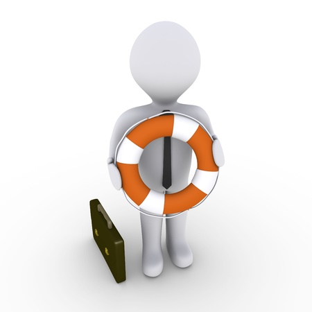 job offers: 3d businessman is holding a round lifebuoy