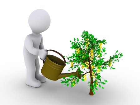 nature symbols metaphors: 3d person is watering small tree with dollar signs