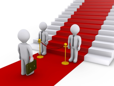 qualify: Businessman is refused access to stairs with red carpet by two others Stock Photo