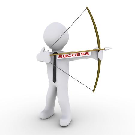 bow arrow: 3d businessman as an archer is ready to shoot arrow with a success tag