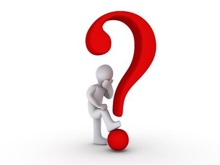 answer question: 3d persona con punto interrogativo rosso Archivio Fotografico