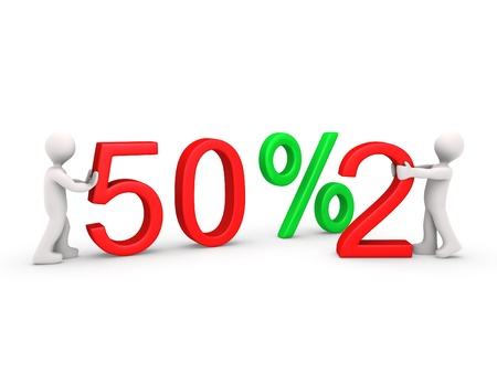 2 50: Two 3d people change discount value Stock Photo
