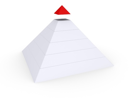 detached: White pyramid with red top detached