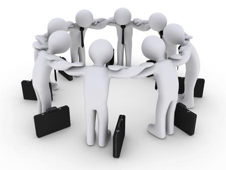 pacto: Hombres de negocios 3d en un círculo la concentración