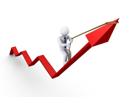 cgi: 3d businessman climbing on graph