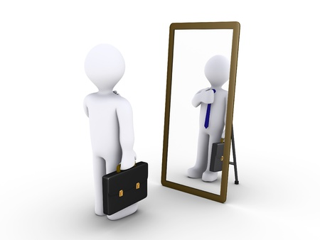 reflection in mirror: 3d businessman looking in a mirror to become presentable Stock Photo