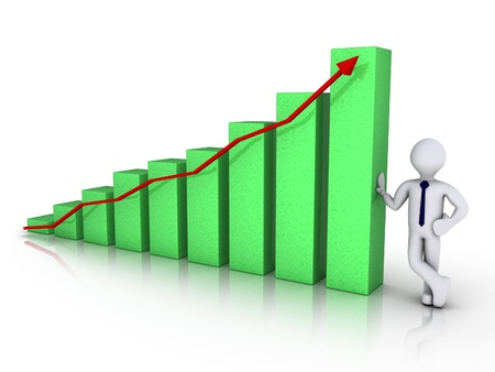 3d businessman with good results chart Stock Photo - 14520356