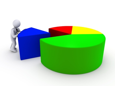 3d person completing pie chart photo