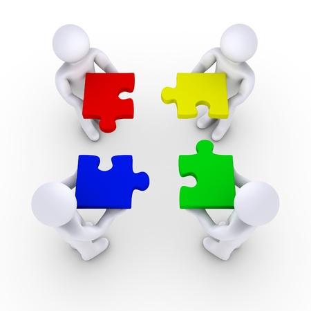puzzle pieces: Vier 3d Menschen halten Puzzleteile Lizenzfreie Bilder