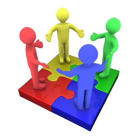 teamwork together: Four 3d colored peolpe on top of puzzle pieces make a puzzle Stock Photo