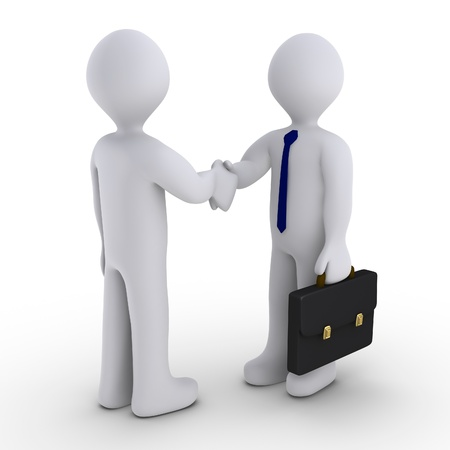 client meeting: Handshake between two 3d men Stock Photo