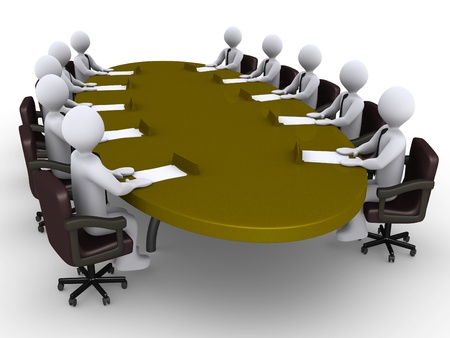 round table conference: Businessmen sitting around an oval table as a conference Stock Photo