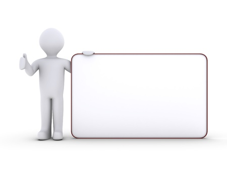 3d person holding a blank board photo