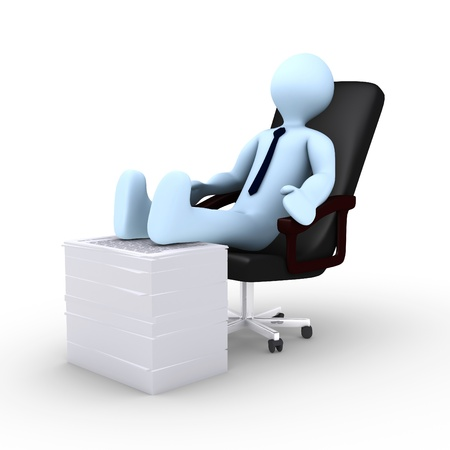 Tired 3d businessman is resting photo