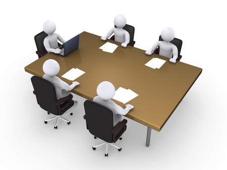 briefing: Business meeting between five 3d people