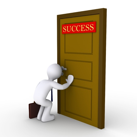 difficult to find: 3d businessman looking through keyhole of door that has a success sign
