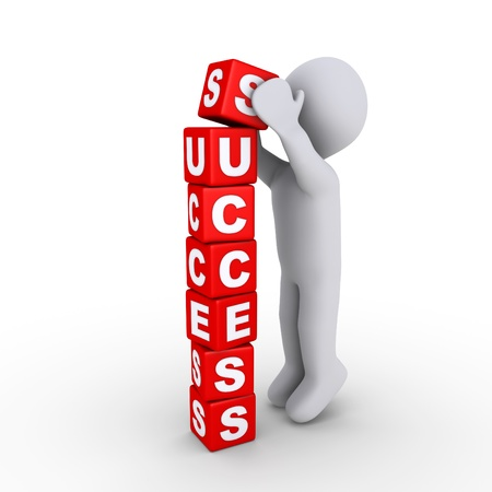 3d person putting the last block of success letters Stock Photo