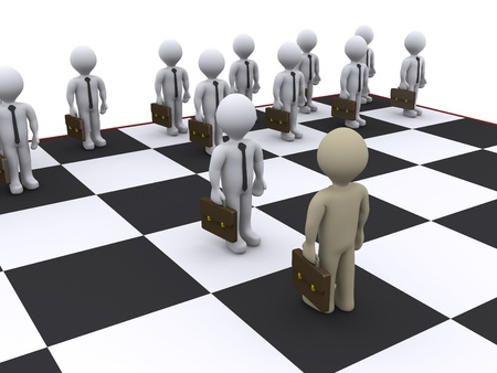 3d businessmen as pawns on chessboard photo