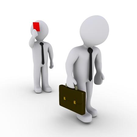 arbitros: 3d hombre de negocios está mostrando una tarjeta roja a otro que está dejando
