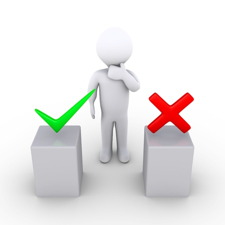 choose person: 3d person thinking behind two podiums which have right and wrong symbols Stock Photo