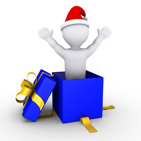 cgi: 3d person inside a blue box is feeling happy for Christmas