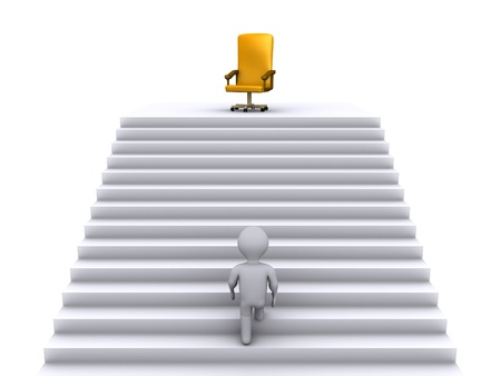 3d person climbing stairs to reach a golden chair