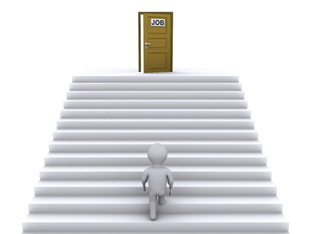 3d person climbing stairs that have a door on top of them photo