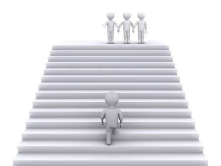 climbing stairs: 3d person climbing stairs to join three people waiting at the top