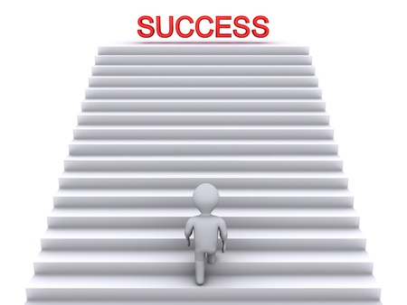 3d person climbing stairs that have the word success on top of them photo