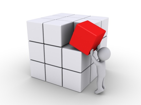 creative goal: 3d person putting red cube with other white ones Stock Photo
